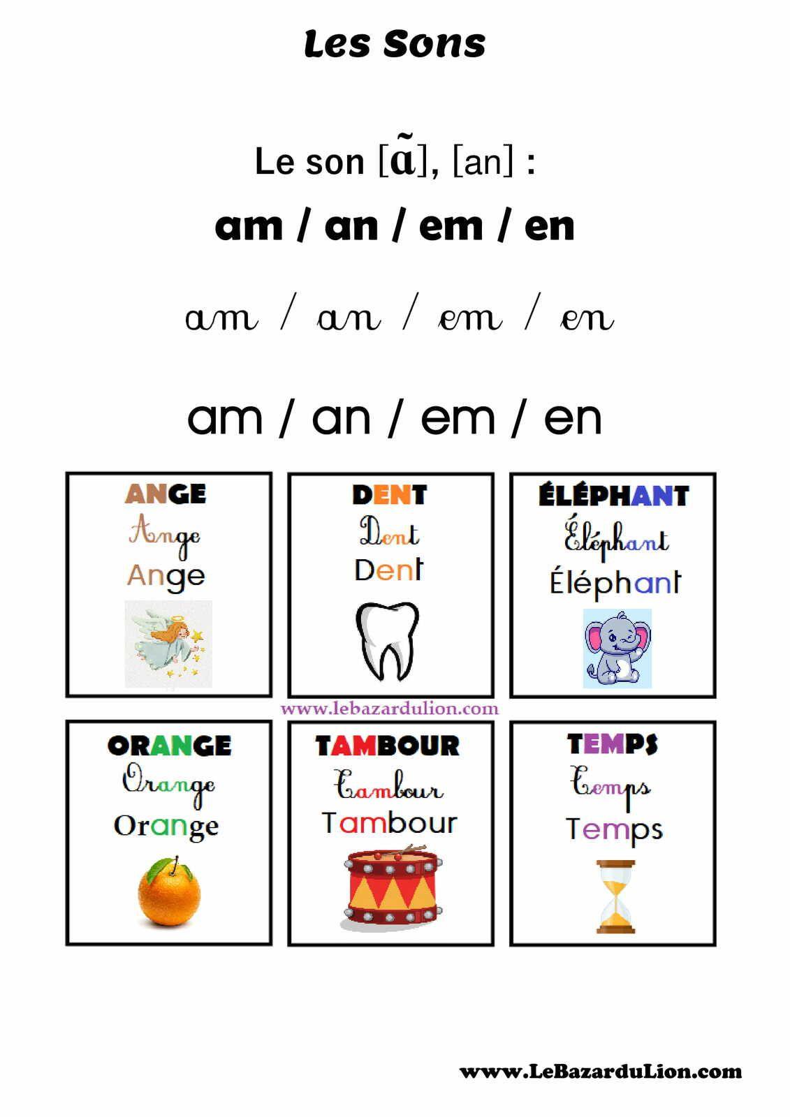 """Les Sons : Le Son """"an"""" (ɑ̃) [Affichage][Maternelle]"""