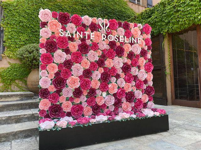 Photo call en roses du domaine Ste Roseline attenant à La Chapelle.. couverture de l'Arc de Roseline publié en 2016