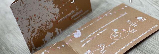 Le faire part de mariage d'Emmanuelle & Jonathan ... thème guinguette champêtre