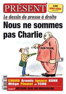 """""""Nous ne sommes pas Charlie"""" : un supplément sur la caricature du journal d'extrême droite Présent"""