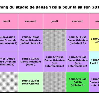 Planning du Studio de Danse YZELIA