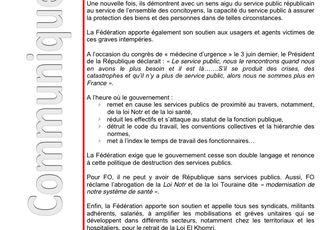 La fédération communique : services publics et intempéries