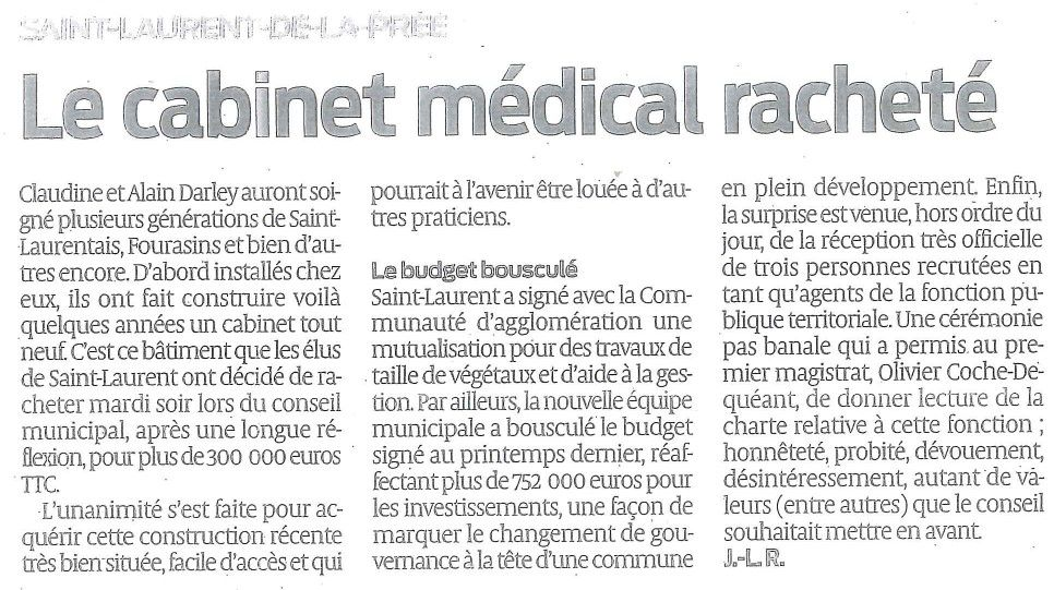 ARTICLE JOURNAL SUD OUEST : LE CABINET MEDICAL RACHETE