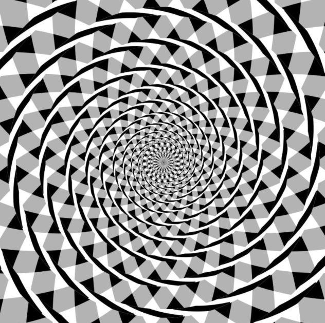 Cercles concentriques semblant faire une spirale