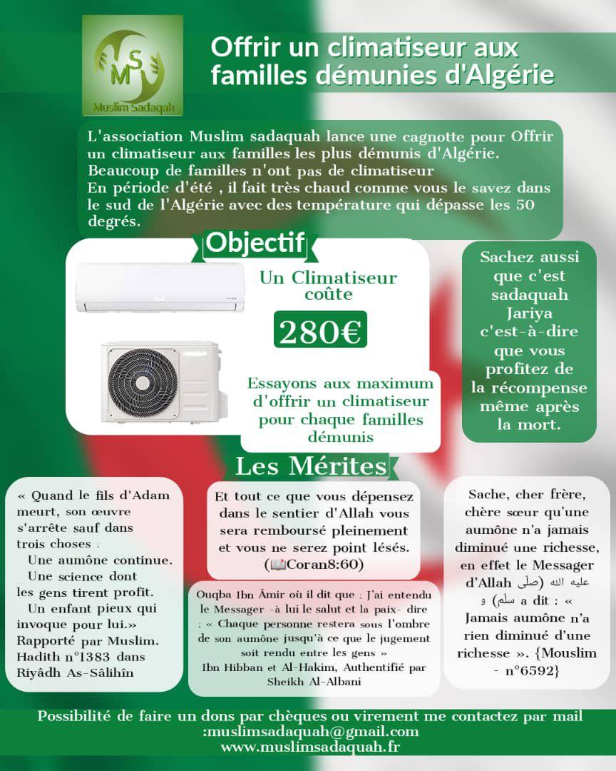 Offrir un climatiseur aux pauvres en Algérie