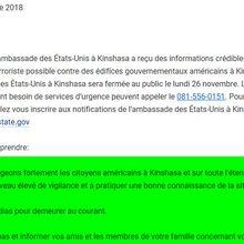 RDC : l'ambassade des États-Unis à Kinshasa fermée lundi 26 novembre en raison d'une possible attaque terroriste