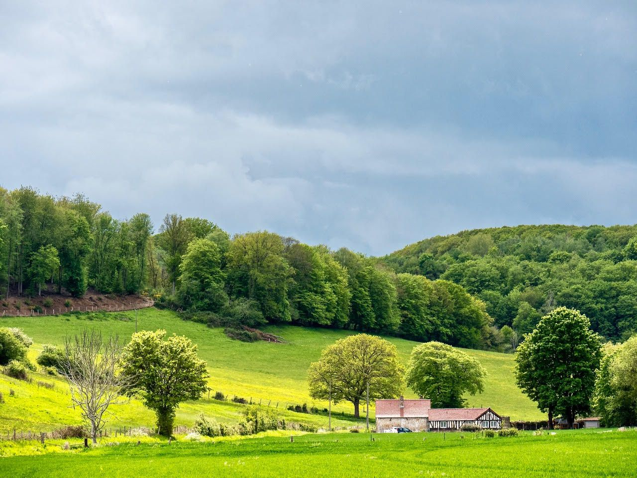 La Bidaudière, hameau de Saint-Pierre, un peu amont dans la vallée de l'Oison. Cliché de Frédéric Ménissier (mai 2021).
