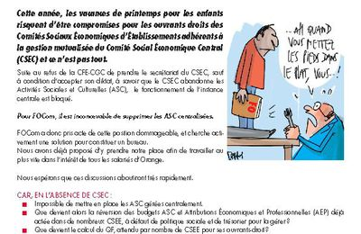 Constitution du CSEC : ATTENTION URGENCE !!!