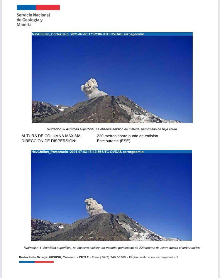 Nevados de Chillan - 03.07.2021, respectivement à 17h52 et 18h12 UTC - webcam Portezuelo / Sernageomin