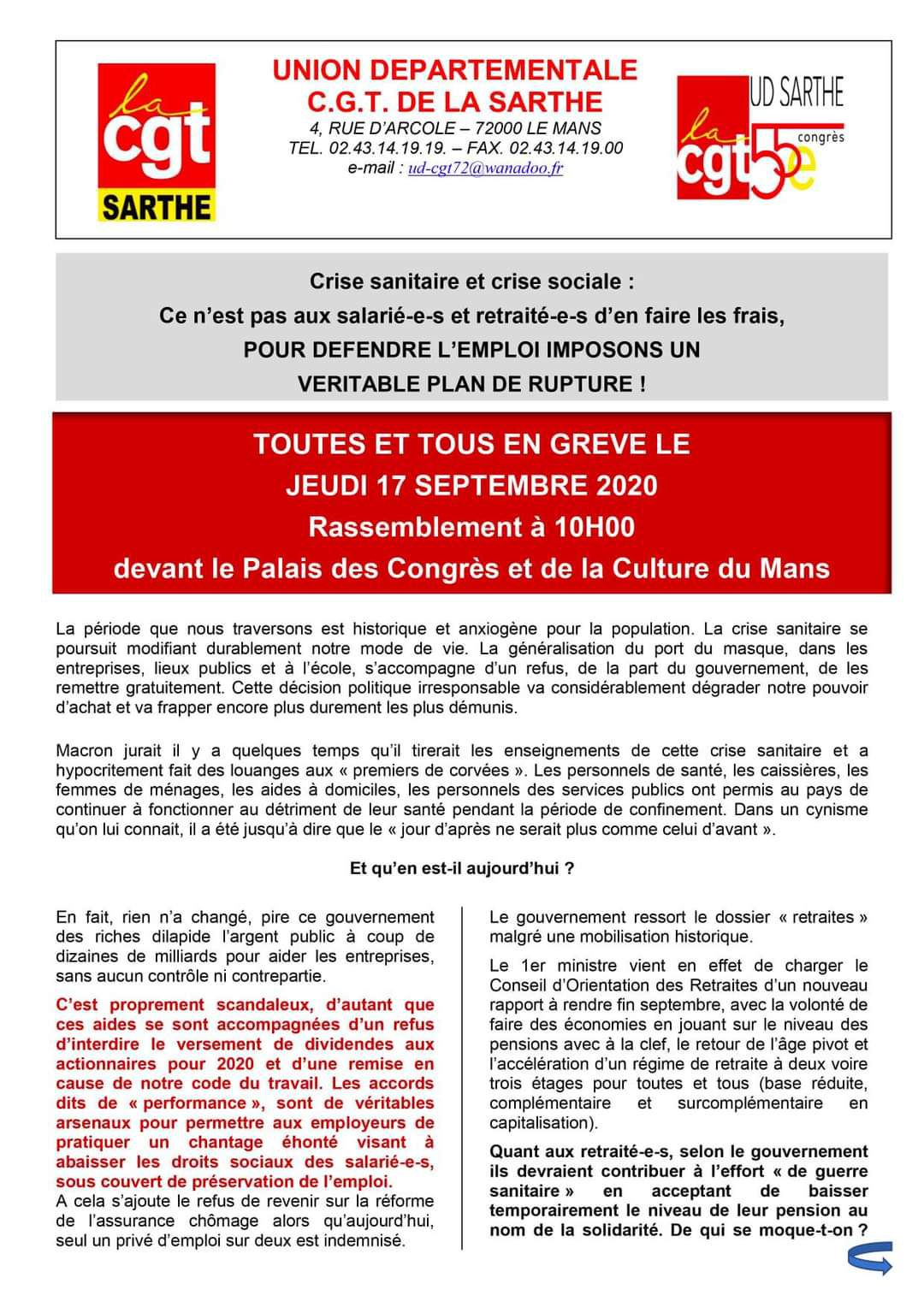 Action du 17 Septembre 2020 (tract ud CGT)