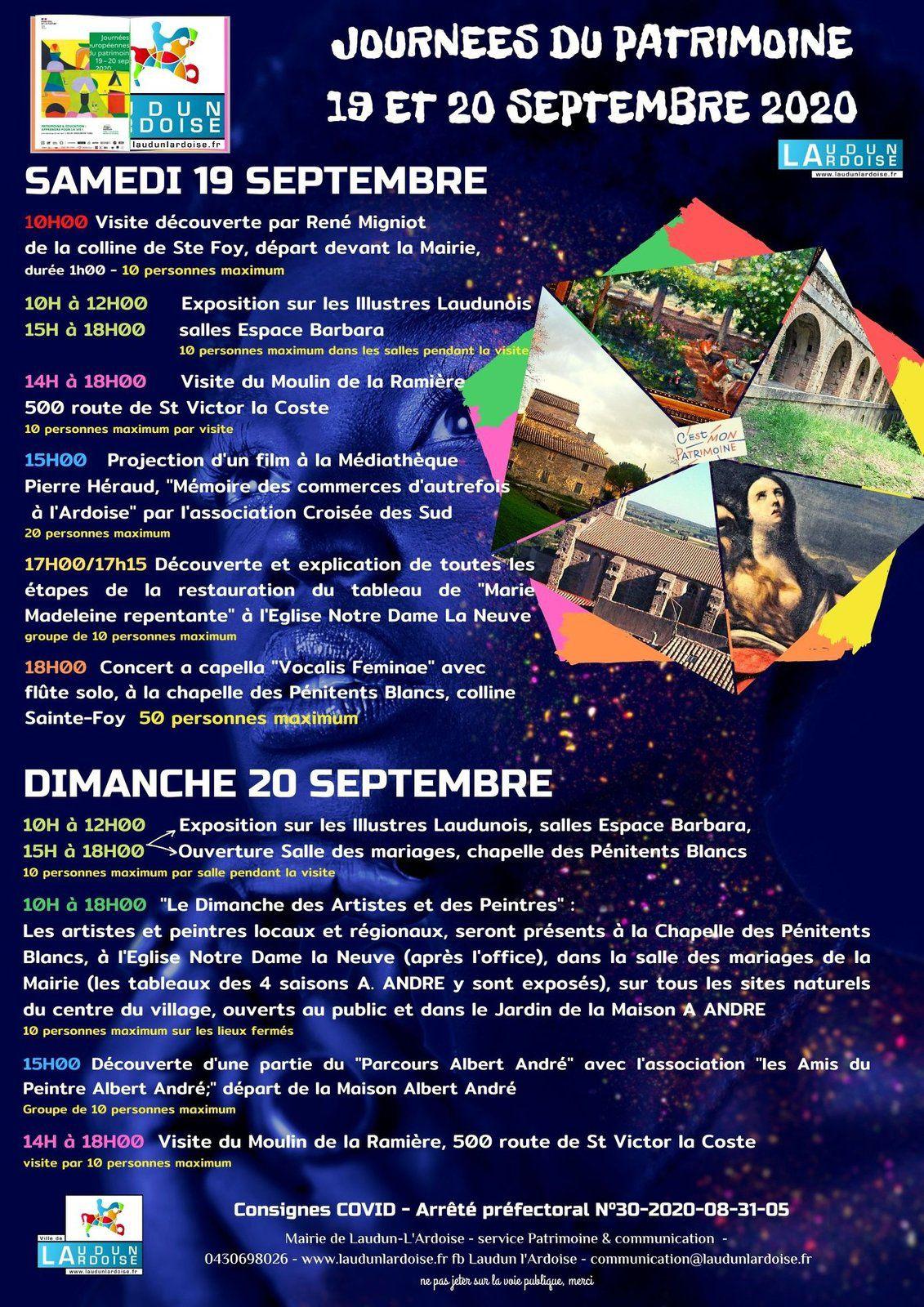 Les programme des journées du patrimoine à Laudun-l'Ardoise