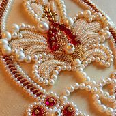 Stylized Pomegranate in Pearl & Goldwork Embroidery