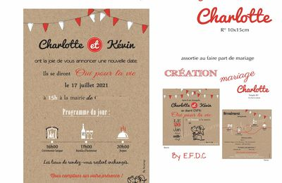 carton report mariage thème féria de charlotte & Kevin