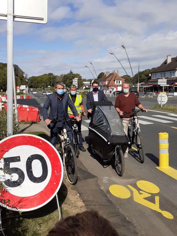 Communauté urbaine Caen la mer - Présentation d'une nouvelle piste cyclable transitoire à Hérouville Saint-Clair