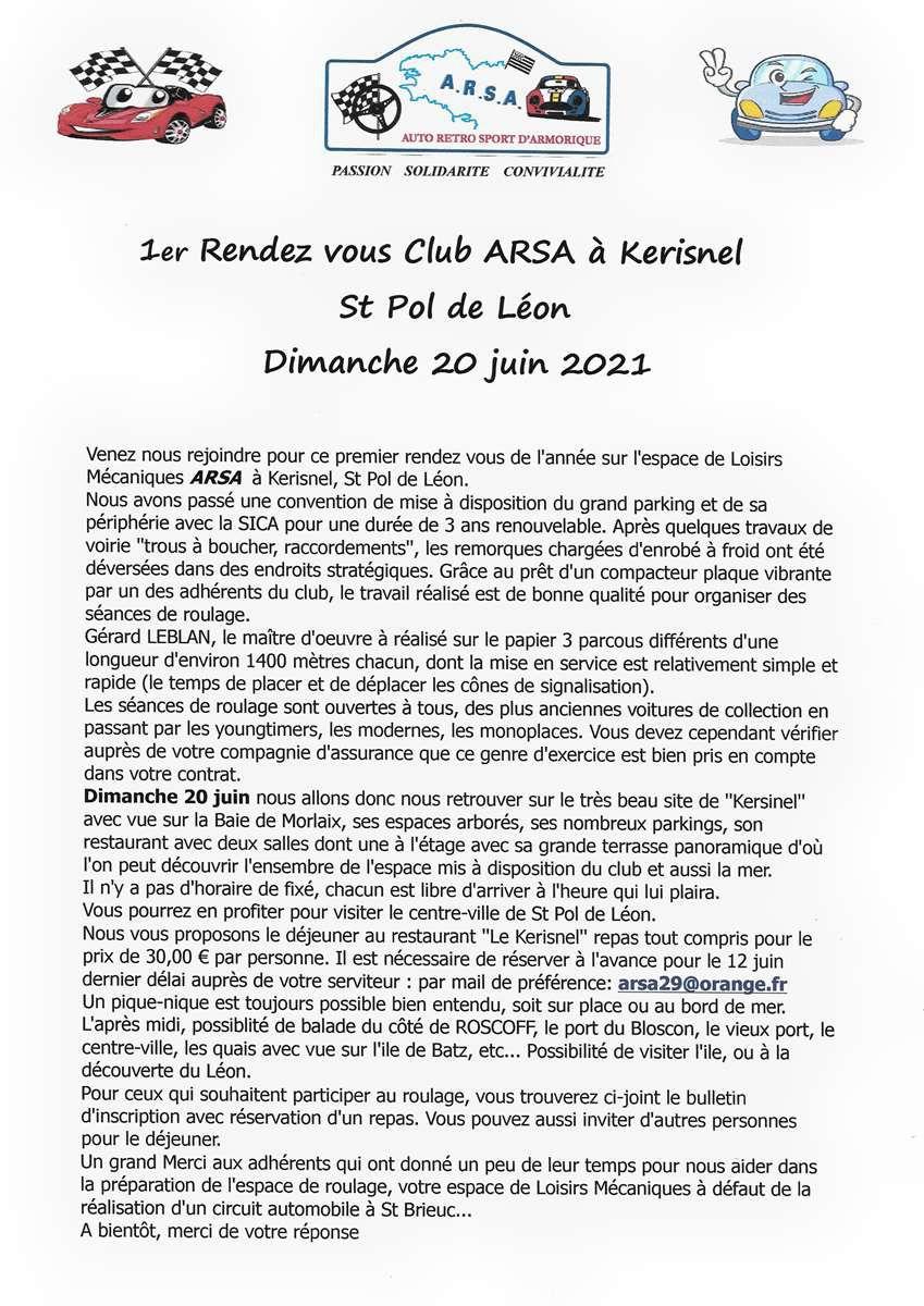 Rendez vous à KERISNEL St Pol de Léon le 20 juin 2021