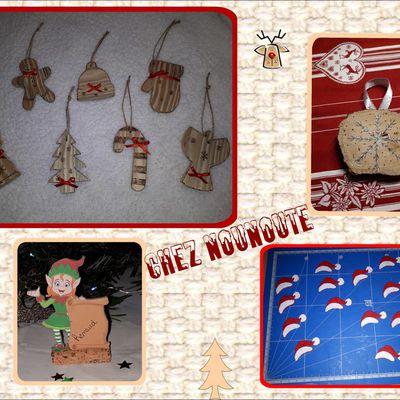 Fabrication  de décorations de Noël :sujets en bois pour sapin, bonnet en feutrine pour des verres, marques places lutin