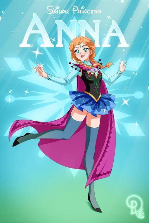 Des images de princesses et héroïnes disney en mode sailor (de sailor moon bien sûr)