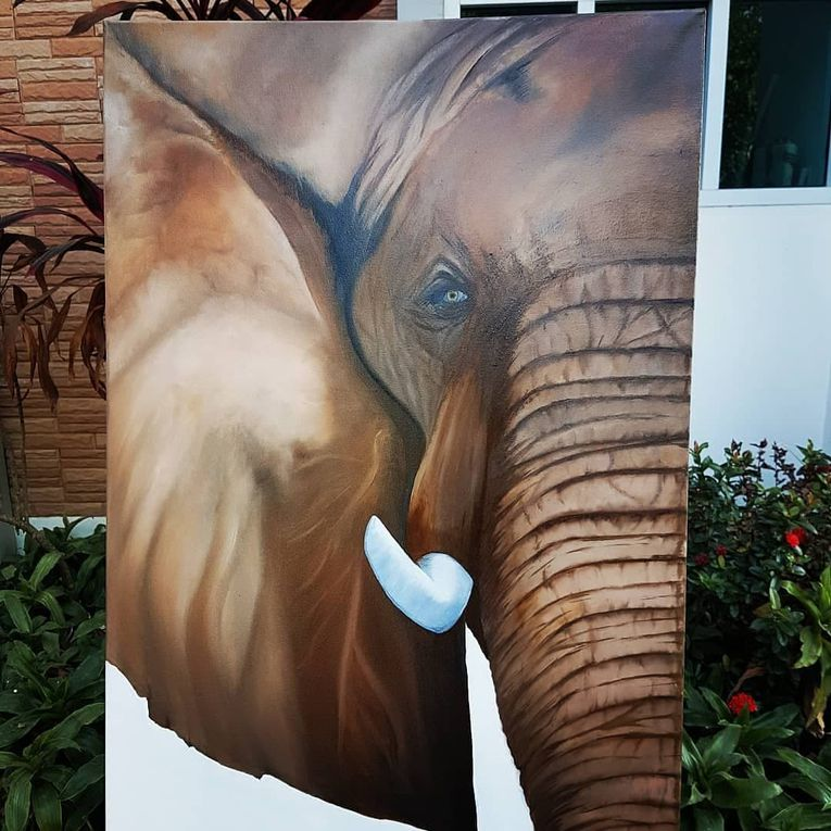 Oil Painting Size: 60x100cm by Pippa Keawmanee