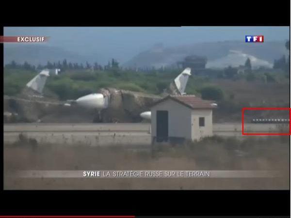 """Photos : (c) TF1 - Su-24 """"Fencer"""" à Lattaquié / Images via @JosephHDempsey, sur Twitter."""