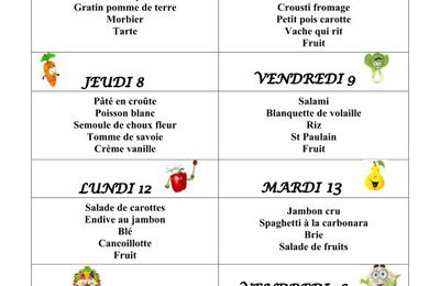 Menu du 05 au 16 octobre 2020