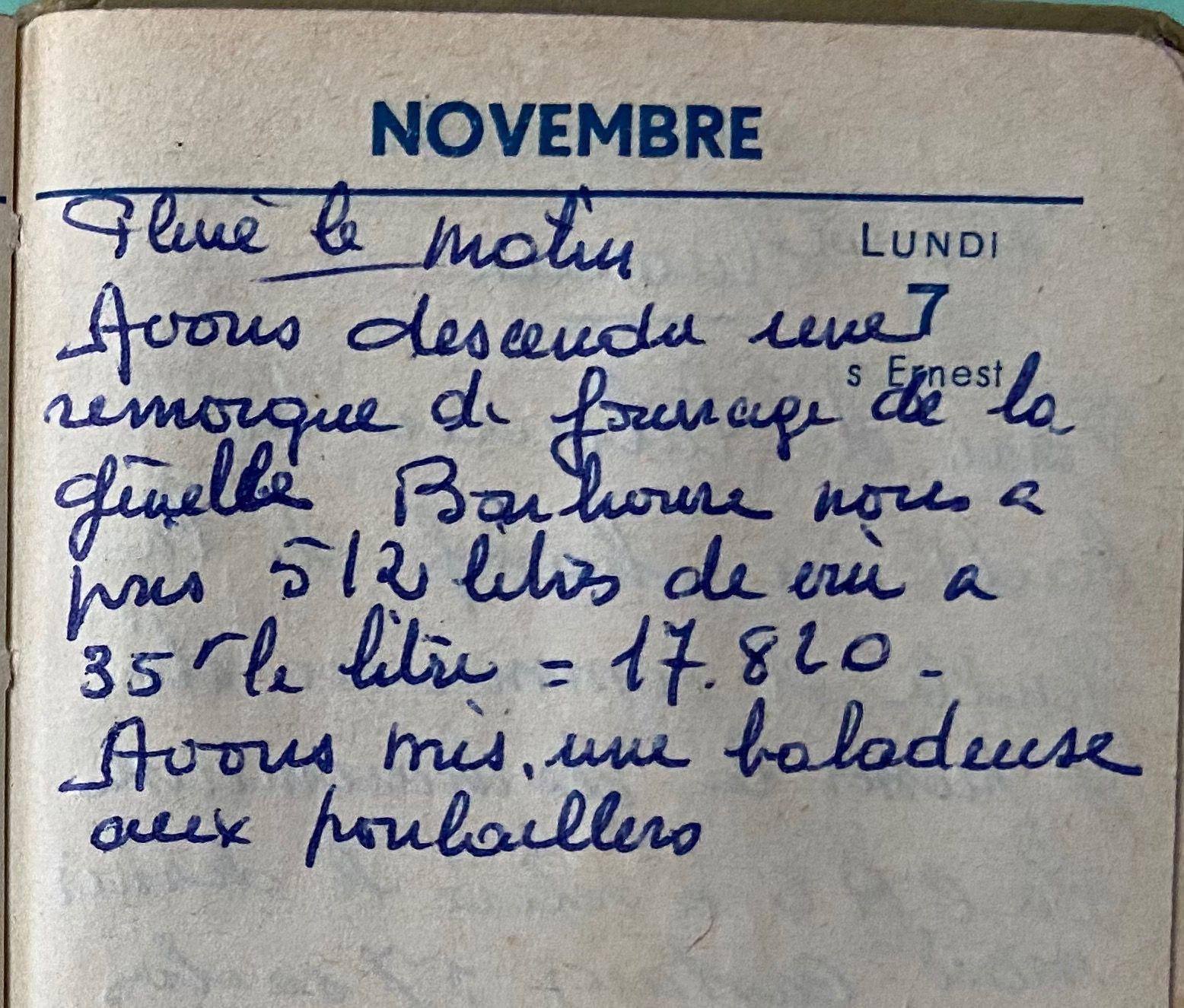 Lundi 7 novembre 1960 - la charrette de fourrage et le vin
