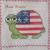 Plaid Tortues brodées : Tortue USA - Chez Mamigoz