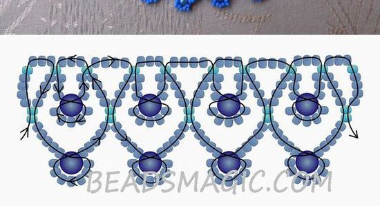 Free pattern for necklace Blue Sky 11/0-4-6 mm golyó