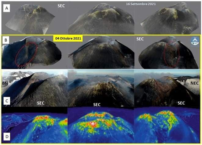 Etna - (A and B) 3D models of the south-eastern crater of Etna dating from September 16, 2021 and October 4, 2021, respectively. - (C and D) RGB and thermal images of the edge of the SEC crater taken on October 4, 2021. - Doc . INGV OE - one click to enlarge