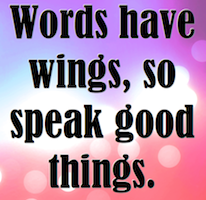 The Power of Words. What you say is what you become.