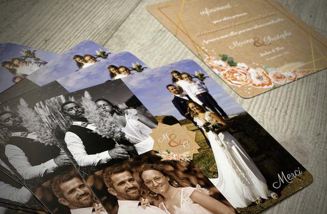 La carte de remerciements de Marina & Christophe ... thème floral pampa assortie au faire part de mariage