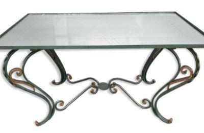 TABLE BASSE NEO-CLASSIQUE FER FORGE VERT ET OR PLATEAU MIROIR - 135 euros
