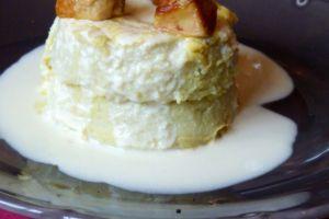 Flan de topinambours au foie gras et crème de jambon fumé