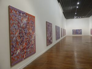 Exposition François Rouan. Maison de la culture, Amiens, 2014 © Photographie Gilles Kraemer, présentation presse 21 janvier 2014. Remerciements à François Rouan