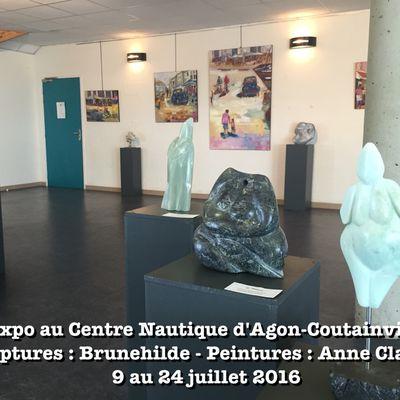 Expo au Centre Nautique d'Agon-Coutainville Sculptures : Brunehilde - Peintures : Anne Clabaux 9 au 24 juillet 2016 de 11h à 19h