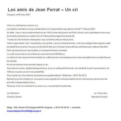 Projet pour le Festival 2021 lettre aux adhérents