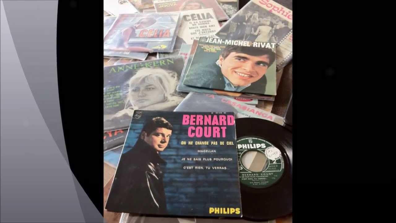 """Bernard court, un chanteur français tendance rock des années 1960 avec les hits """"plus d'amis pour me consoler"""" et """"on ne change pas le ciel"""""""