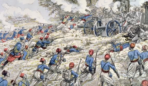 """Titre: """"Algerian riflement of the french army attacking German guns during the battle of Marne in 1918"""" Artiste: Fernand Auguste Besnier Date de publication: 1918"""