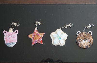 Porte-clés en mosaïque - porte-clefs en mosaïque - licorne, fleur, ourson, étoile de Noël