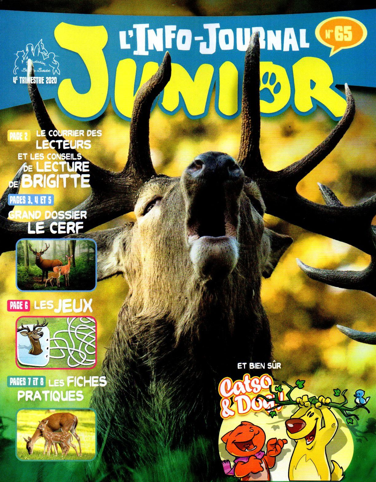 Info journal Junior Fondation Brigitte Bardot n°65 du 4ème trimestre 2020