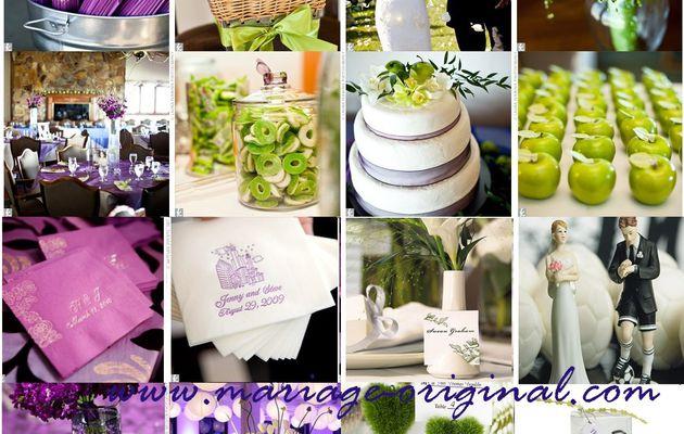 Mariage vert et violet