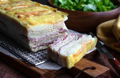Croque cake au jambon à l'ancienne et maroilles