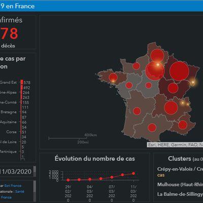 Carte de France des cas de coronavirus par région