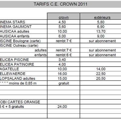 tarif du CE
