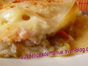 Lasagnes aux endives, surimi et saumon fumé