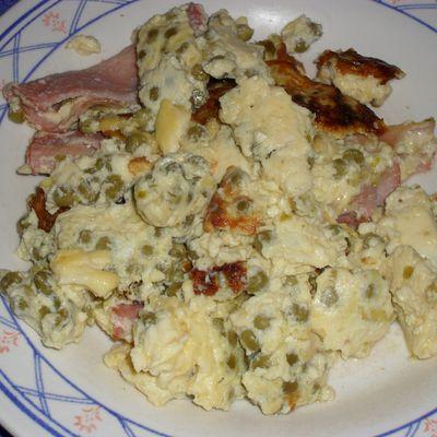 Omelette anglaise aux lardons et aux petits-pois