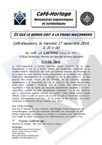 Café horloge du 17 septembre : Ce que le monde doit à la franc-maçonnerie
