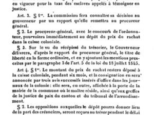 Extrait du Bulletin officiel de la Martinique, ordonnance royale du 23 octobre 1845 relative à l'exécution de l'article 5, etc . Année 1846, pages 593 à 595.