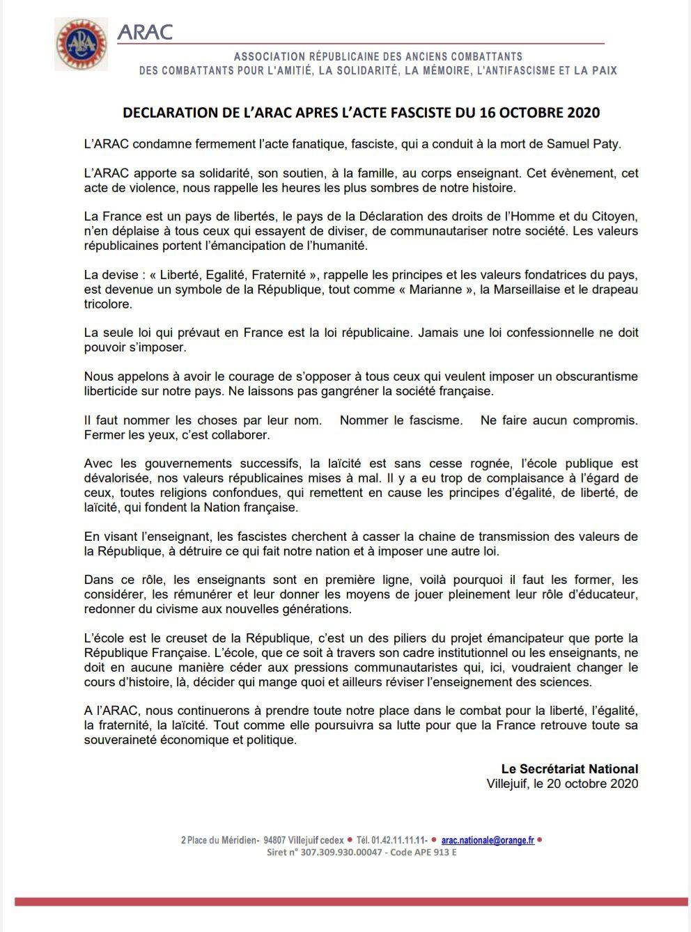 Déclaration de l'ARAC après l'acte fasciste du 16 octobre 2020