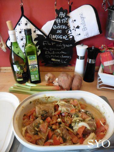 Filet mignon mariné, Rhubarbe,  Patates douces et Massalé au Cookeo du Petit Bistro de Mamigoz