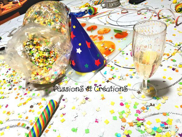 Décoration de table - Déco - Cotillons - Confetti - Chapeaux - Boules - Champagne - Fête - Bonne Année - Saint Sylvestre - 2017 - Repas